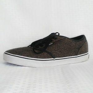 Vans lace up sneakers brown black tweed mens 10.5
